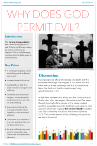 Biblical Blessing #2 - Why does God permit Evil?
